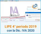 LIPE 4° periodo 2019 con la Dichiarazione IVA 2020