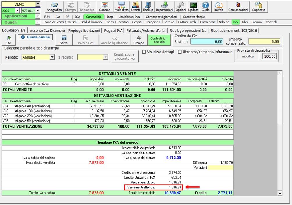 Liquidazione annuale: aggiornamento versione - Versamenti effettuati e dovuti
