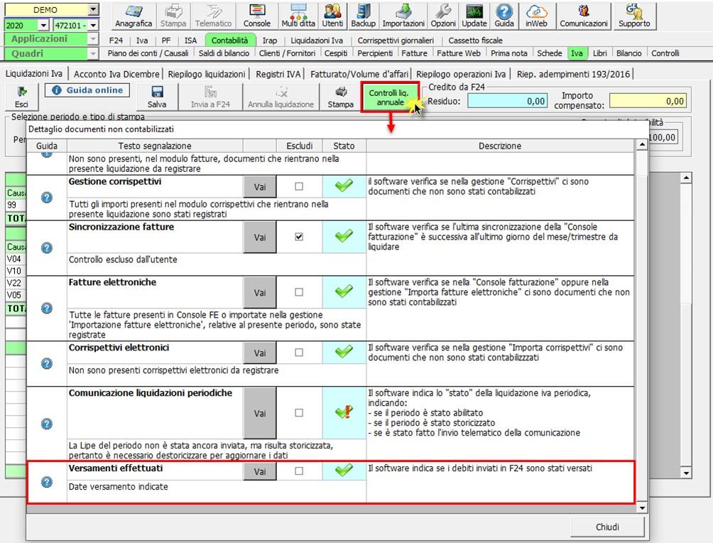 Liquidazione annuale: aggiornamento versione - Controllo liquidazione annuale