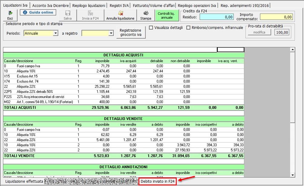 Liquidazione annuale: aggiornamento versione - Debito inviato in F24