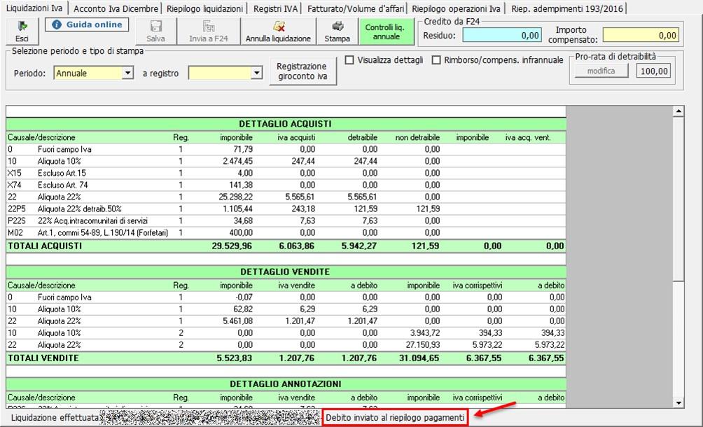 Liquidazione annuale: aggiornamento versione - debito inviato al riepilogo pagamenti