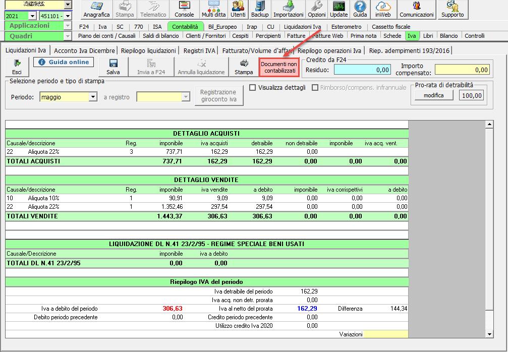Liquidazione iva: documenti non contabilizzati: documenti non contabilizzati