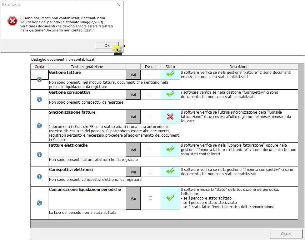 Liquidazione iva: documenti non contabilizzati: messaggio controlli non evasi