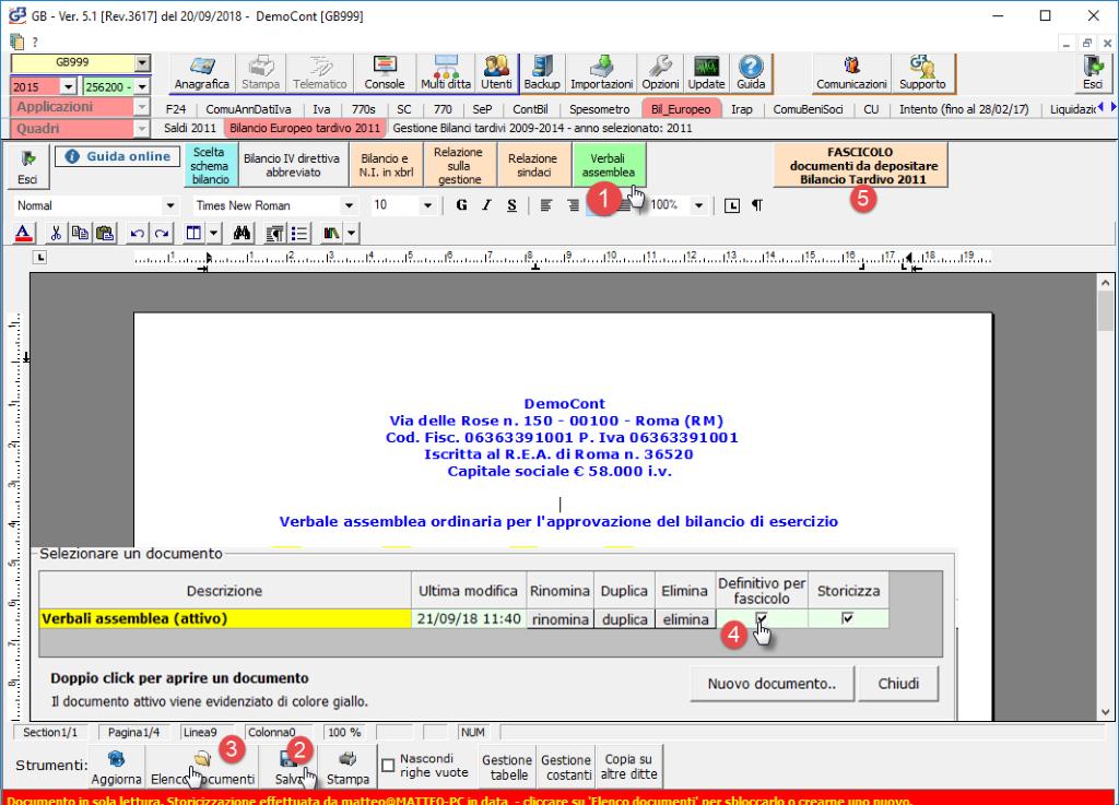 Mancato deposito bilanci dal 2011 al 2018: caso pratico - Grafica elenco documenti