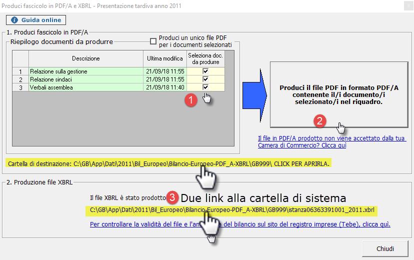 Mancato deposito bilanci dal 2011 al 2018: caso pratico - Schermata produci fascicolo in pdf