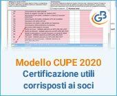 Modello CUPE 2020: Certificazione utili corrisposti ai soci