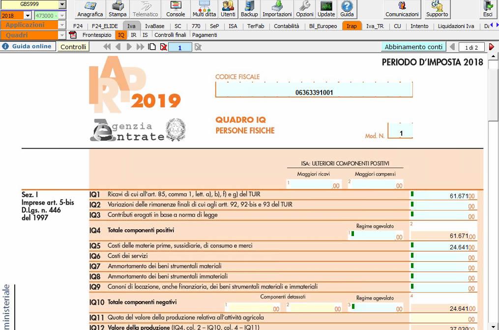 Modello ministeriale Dichiarazione IRAP 2019 nel software INTEGRATO GB