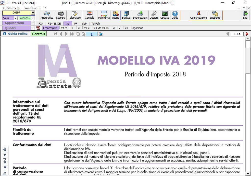 Software Dichiarazione IVA 2019 su modello ministeriale - INTEGRATO GB