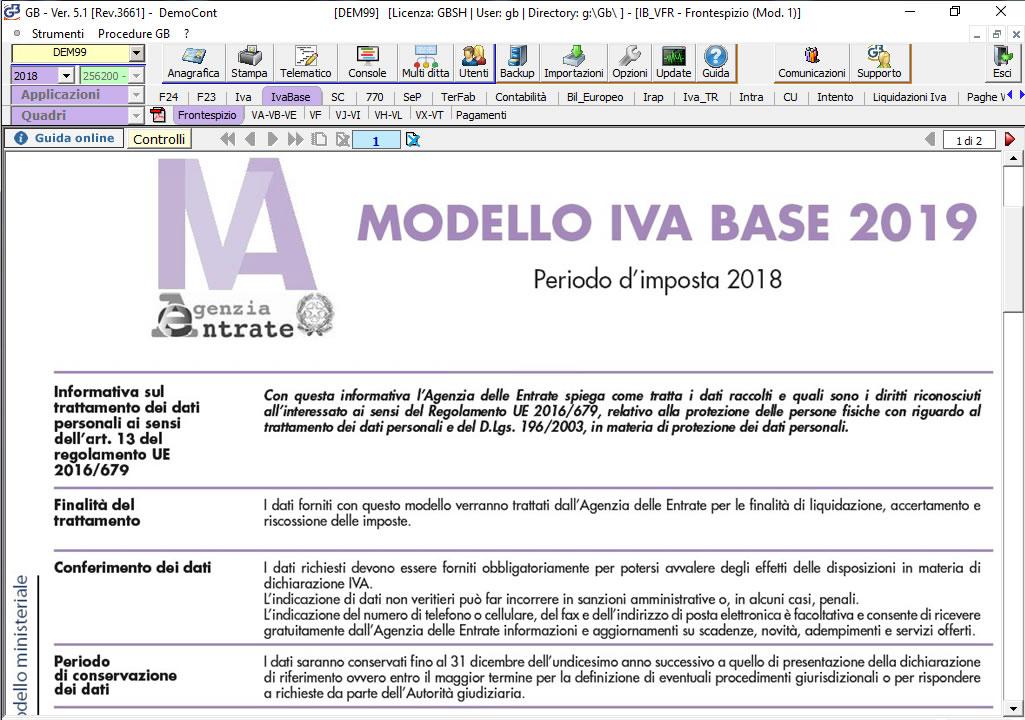 Software Dichiarazione IVA Base su modello ministeriale - INTEGRATO GB