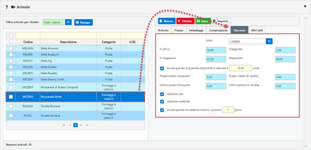 Modulo Magazzino nel software di fatturazione FATTURE GB