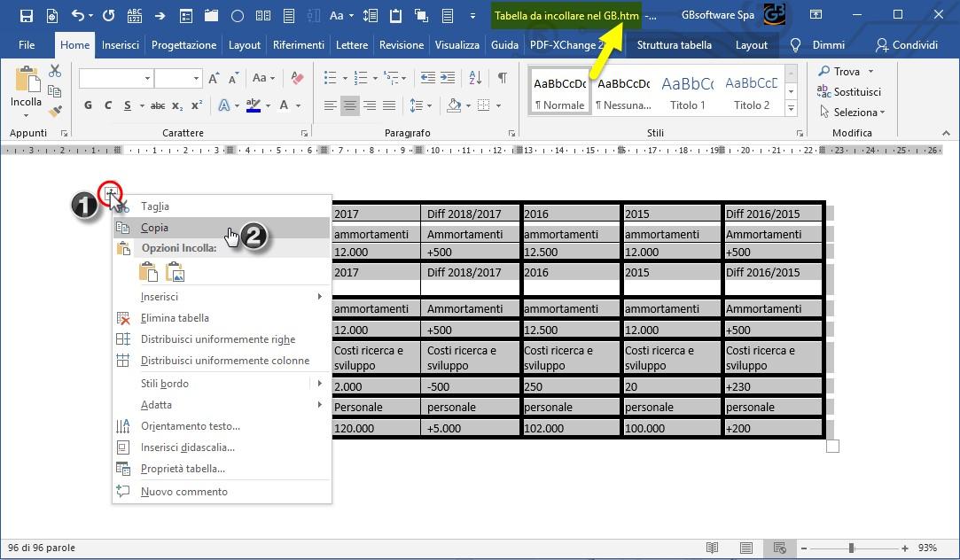Nota integrativa: incollare tabelle da Word - 3