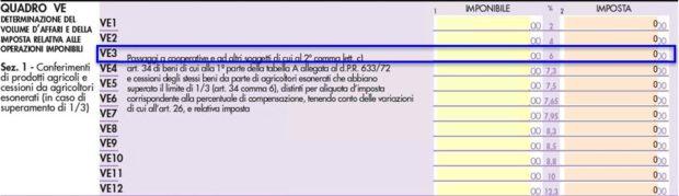Novità Dichiarazione IVA 2020 - rigo VE 3
