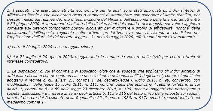 Pagamento imposte 2020: proroga versamenti - Estratto testo DPCM