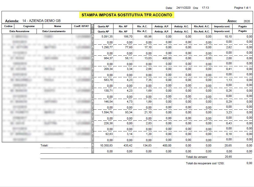 Paghe 2020: Acconto imposta sostitutiva sulla rivalutazione del TFR - File pdf Stampa acconto IVA