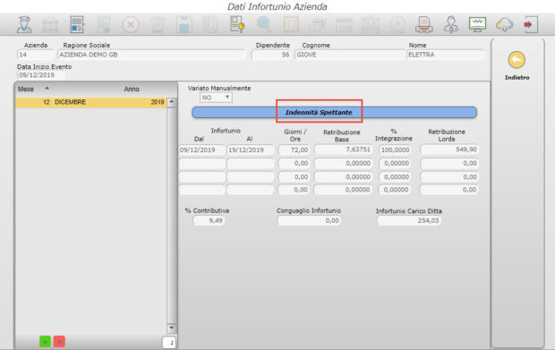 Paghe GB Web 2020: Gestione Infortuni -  dati infortunio azienda