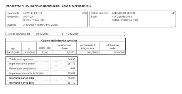 Paghe GB Web 2020: Gestione Infortuni - prospetto di liquidazione