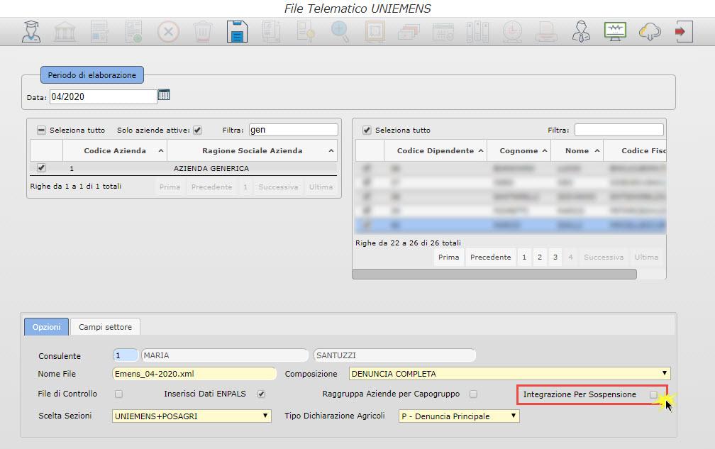Paghe GB Web: Caso pratico – Uniemens Sospensione Contributi - File telematico uniemens