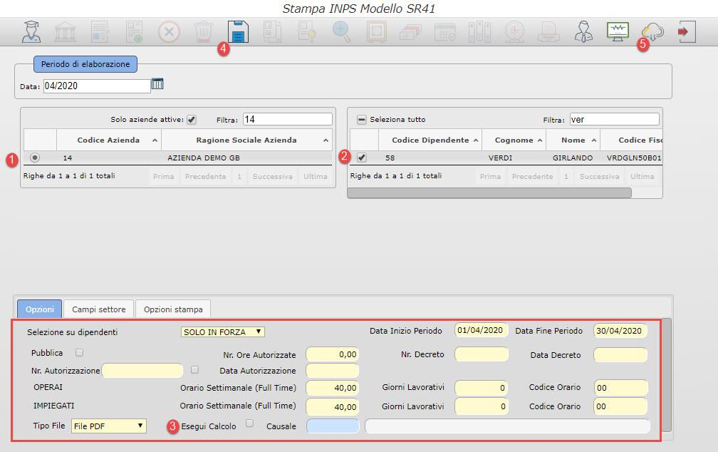 Paghe GB Web: Caso pratico – Modello SR41 - Stampa INPS Modello SR41