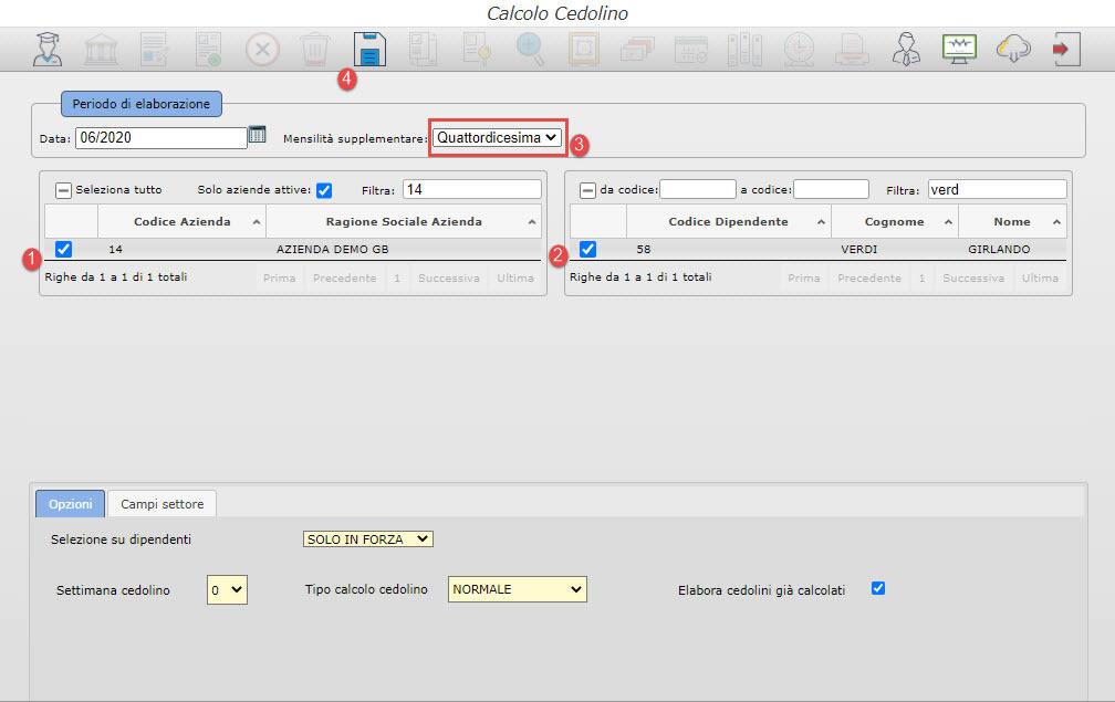 Paghe GB Web 2020: gestione della Quattordicesima - Calcolo cedolino