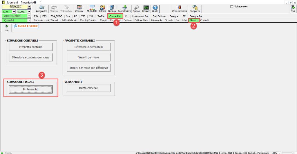 Professionisti: simulazione quadro RE e riepilogo certificazioni- Accesso al prospetto fiscale