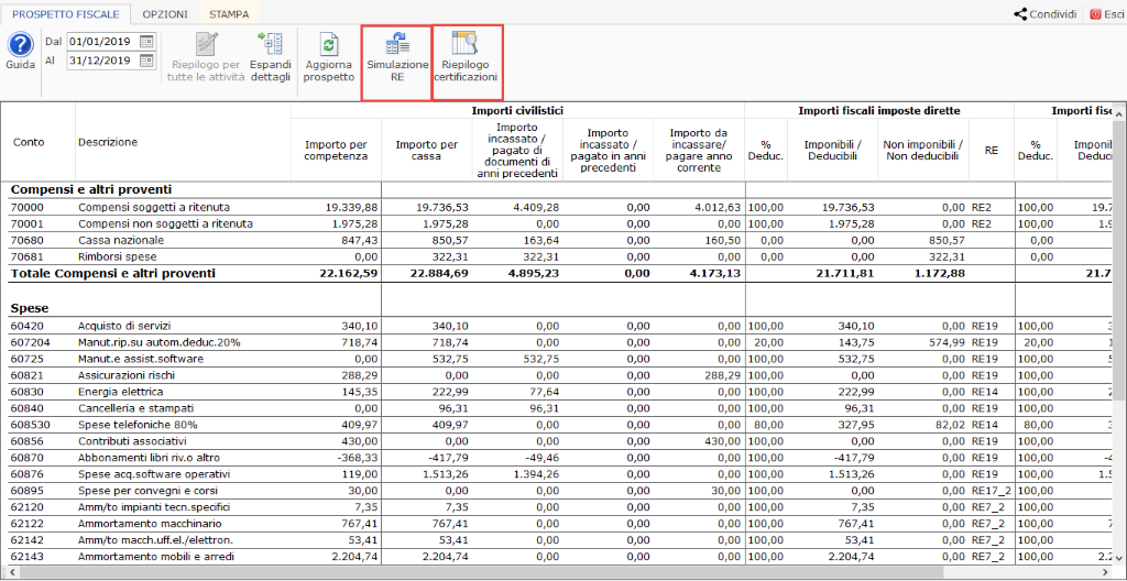 Professionisti: simulazione quadro RE e riepilogo certificazioni - prospetto fiscale dei professionisti