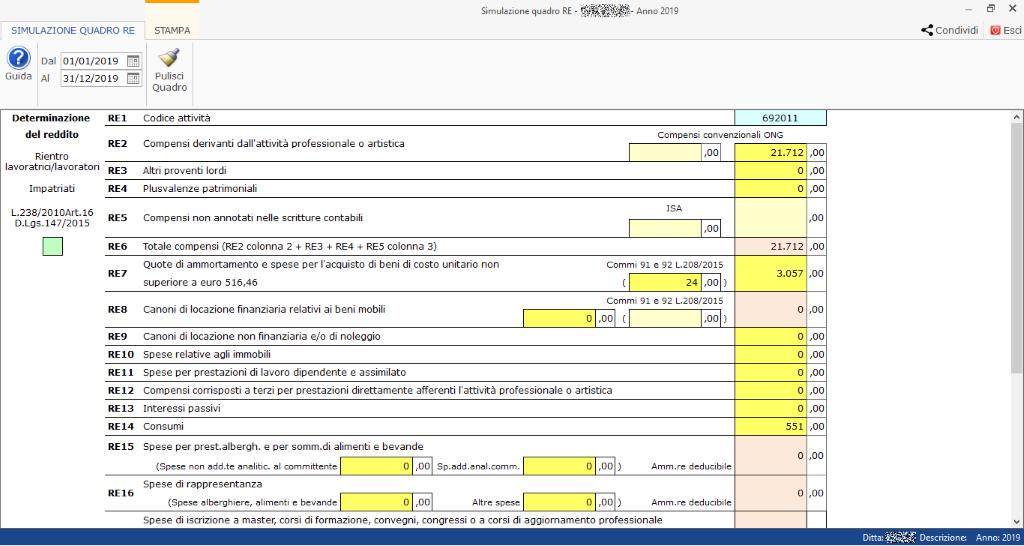 Professionisti: simulazione quadro RE e riepilogo certificazioni - Simulazione Quadro RE
