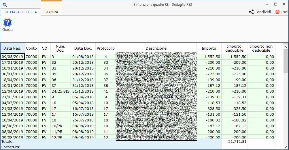 Professionisti: simulazione quadro RE e riepilogo certificazioni - Dettaglio dati in Simulazione Quadro RE