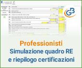 Professionisti: simulazione quadro RE e riepilogo certificazioni