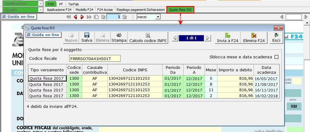 f24 inps commercianti