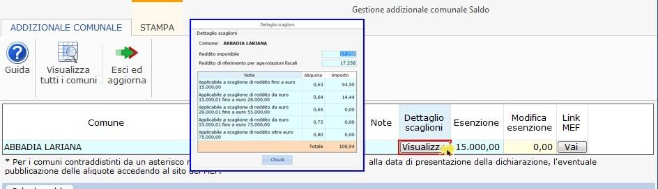 Redditi 2020: gestione Addizionale comunale - Colonna aliquota per scaglioni