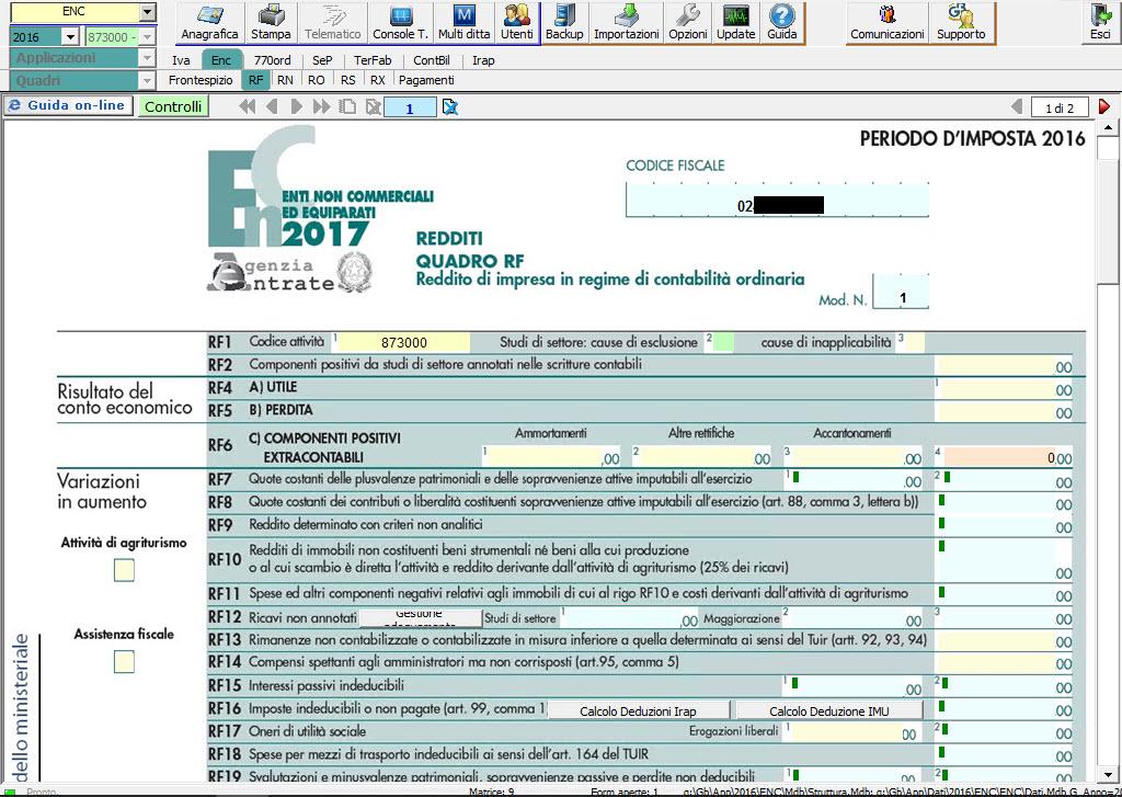 Redditi ENC Enti non commerciali - Quadro RF