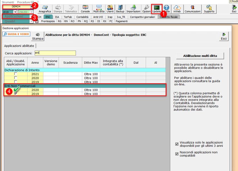 Redditi Enti non Commerciali 2021: disponibile applicazione: abilitazione singola