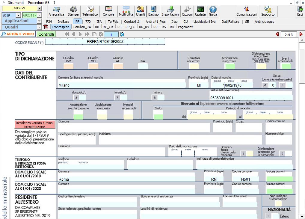 Software Redditi PF 2020