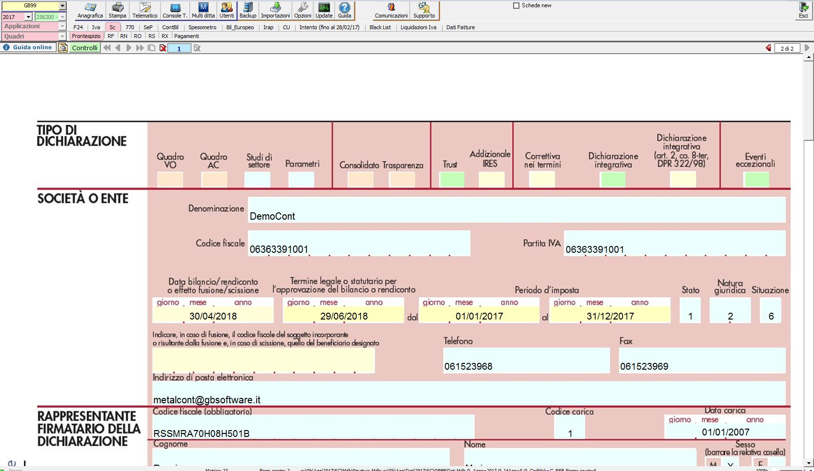 Esempio di modello ministeriale nel software Dichiarazioni GB