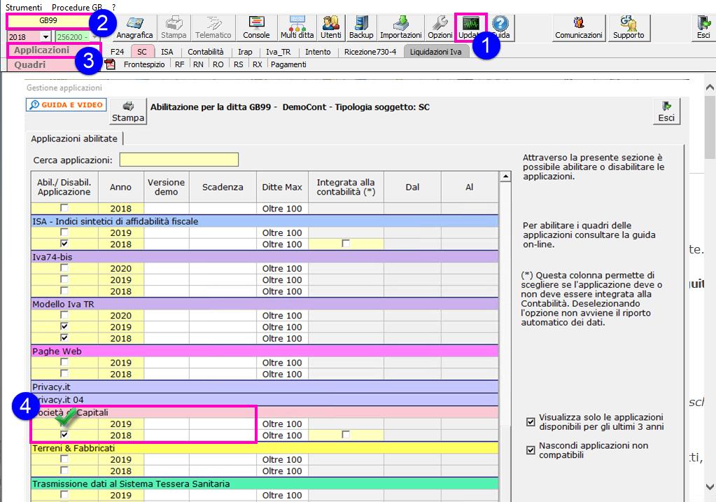 Redditi Società di Capitali 2020: disponibile applicazione - Schermata check società di capitali