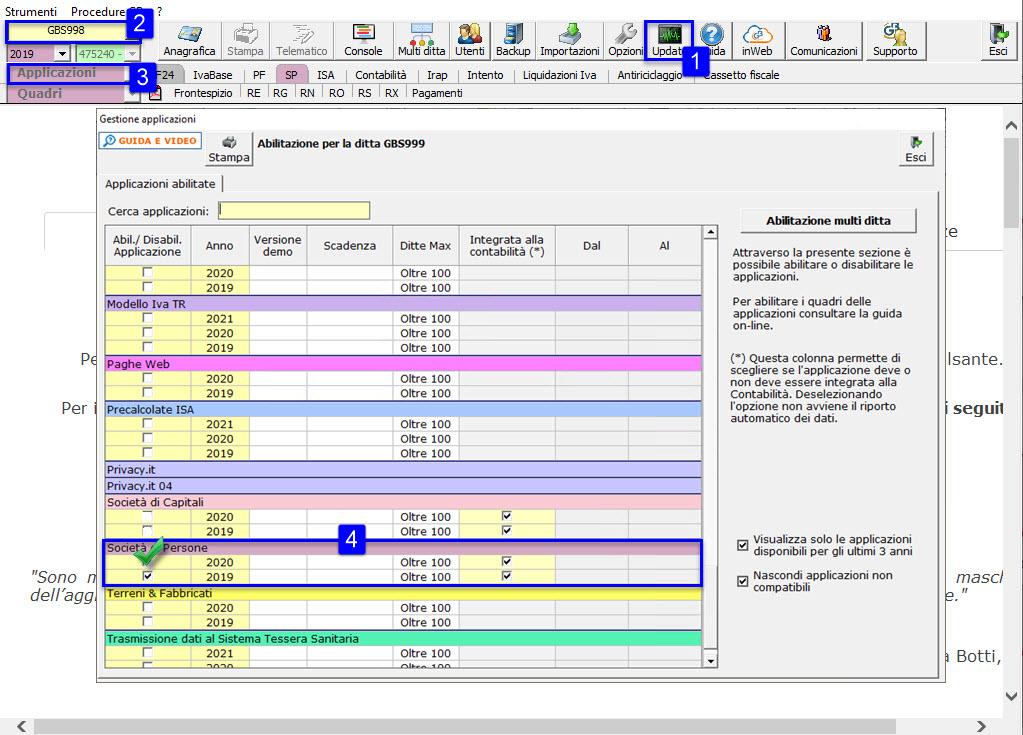 Redditi Società di Persone 2021: disponibile applicazione: modalità di abilitazione applicazione SP check Società di Persone 2020