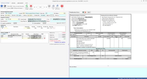 Registrazione FE: fattura acquisto reverse charge - dettaglio fattura