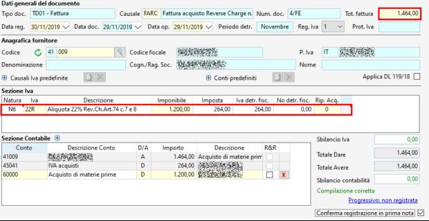Registrazione FE: fattura acquisto reverse charge - dati generali documento