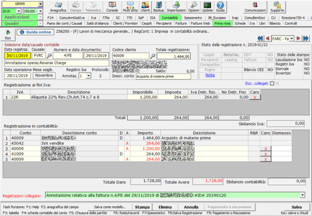 Registrazione FE: fattura acquisto reverse charge - annotazione registro vendite