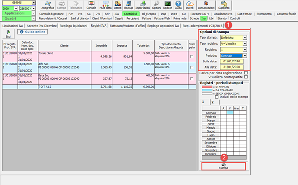 Registri Iva: stampa con liquidazione - Opzioni di stampa