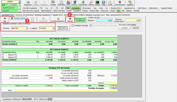 Registri Iva: stampa con liquidazione - Stampa dei registri con la liquidazione