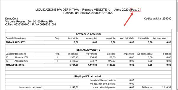 Registri Iva: stampa con liquidazione - Pagina 2 della stampa
