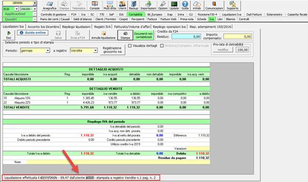 Registri Iva: stampa con liquidazione - Liquidazione stampata a registro delle vendite