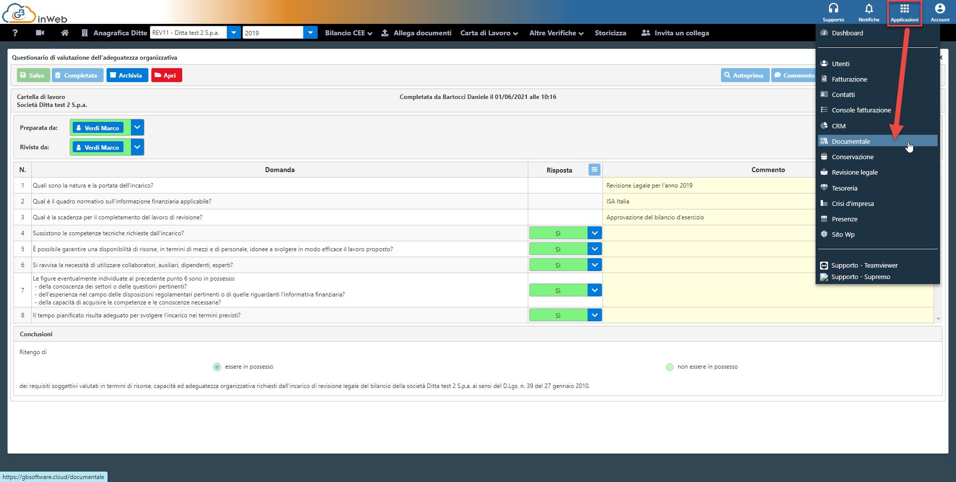 Revisione legale: carte di lavoro: accesso all'archivio in cloud