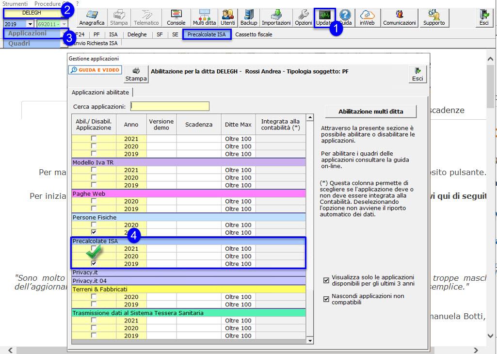 Richiesta acquisizione ulteriori dati ISA 2021: disponibile applicazione: check precalcolate isa
