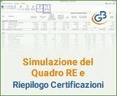 Simulazione del Quadro RE e Riepilogo Certificazioni