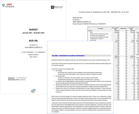 Relazione finale prodotta con il software Budget e Business Plan GB