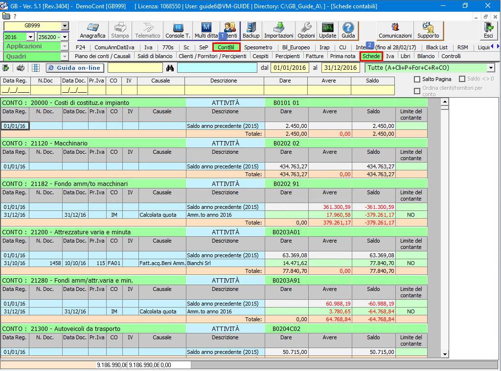 Stampa delle schede contabili