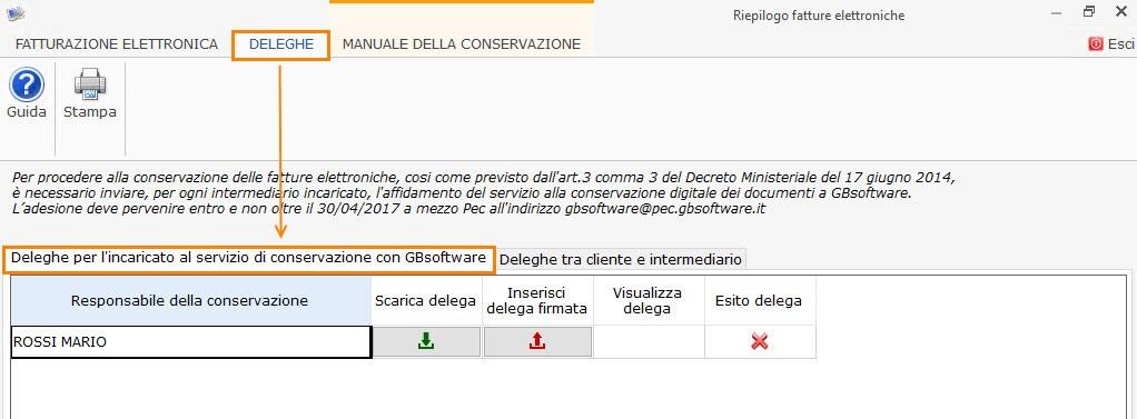 Inviare a mezzo PEC la delega per l'affidamento del servizio alla conservazione digitale