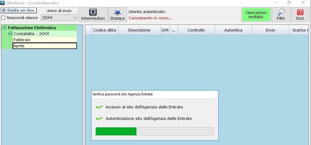 Il software verifica la correttezza dell' username e della password